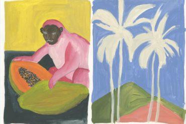 Ilustración de un mono rosa sobre fondo amarillo junto a un paisaje con palmeras sobre cielo azul. Poppyns Magazine