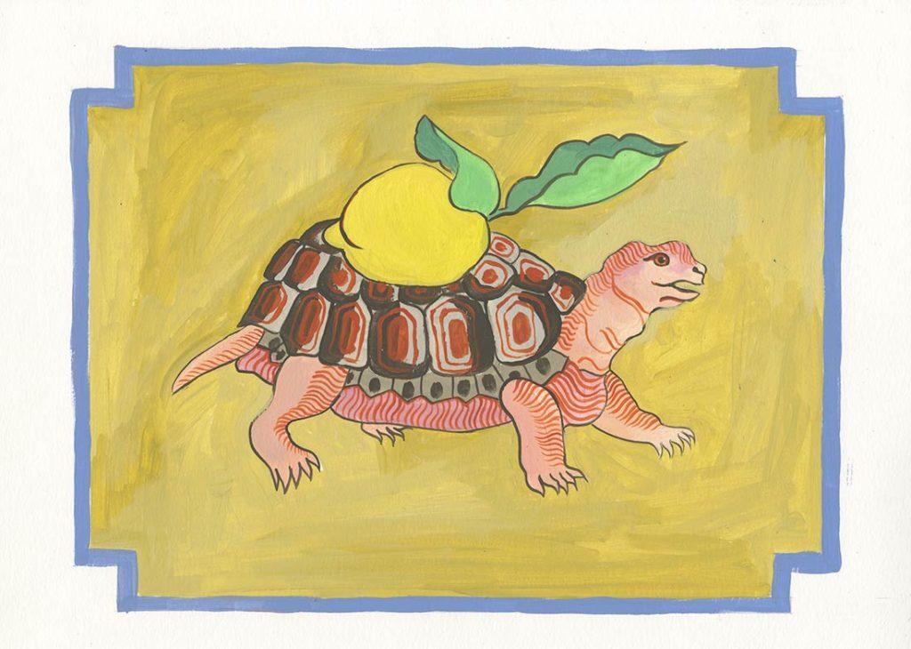 Ilustración de una tortuga con un limón con hojas verdes sobre su caparazón. Poppyns Magazine