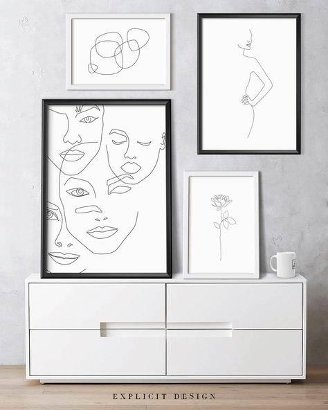 Ilustraciones en negro sobre fondo blanco de rostros superpuestos, un cuerpo de mujer, una flor y formas abstractas, junto a un aparador lacado en blanco y una taza blanca. Poppyns Magazine