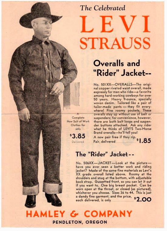 """Cartel color salmón de Levi Strauss donde se anuncia The Celebrated Levi Strauss Overalls and """"Rider"""" Jacket de Hamley and Company, expuesto en un maniquí con sombrero negro y botas negras. Poppyns Magazine"""