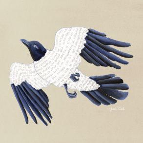 Ilustración de un pájaro con las plumas azules y el cuerpo blanco con un texto que dice no sé qué hacer con mi vida, pero es que en realidad no me apetece hacer nada, solo quiero dormir y soñar. Poppyns Magazine