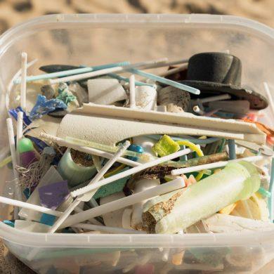 Tupper de plástico con resíduos plásticos como bastoncillos de las orejas, aplicadores de tampón y palos de piruletas y chupa-chups recogidos en la arena de una playa. Poppyns Magazine