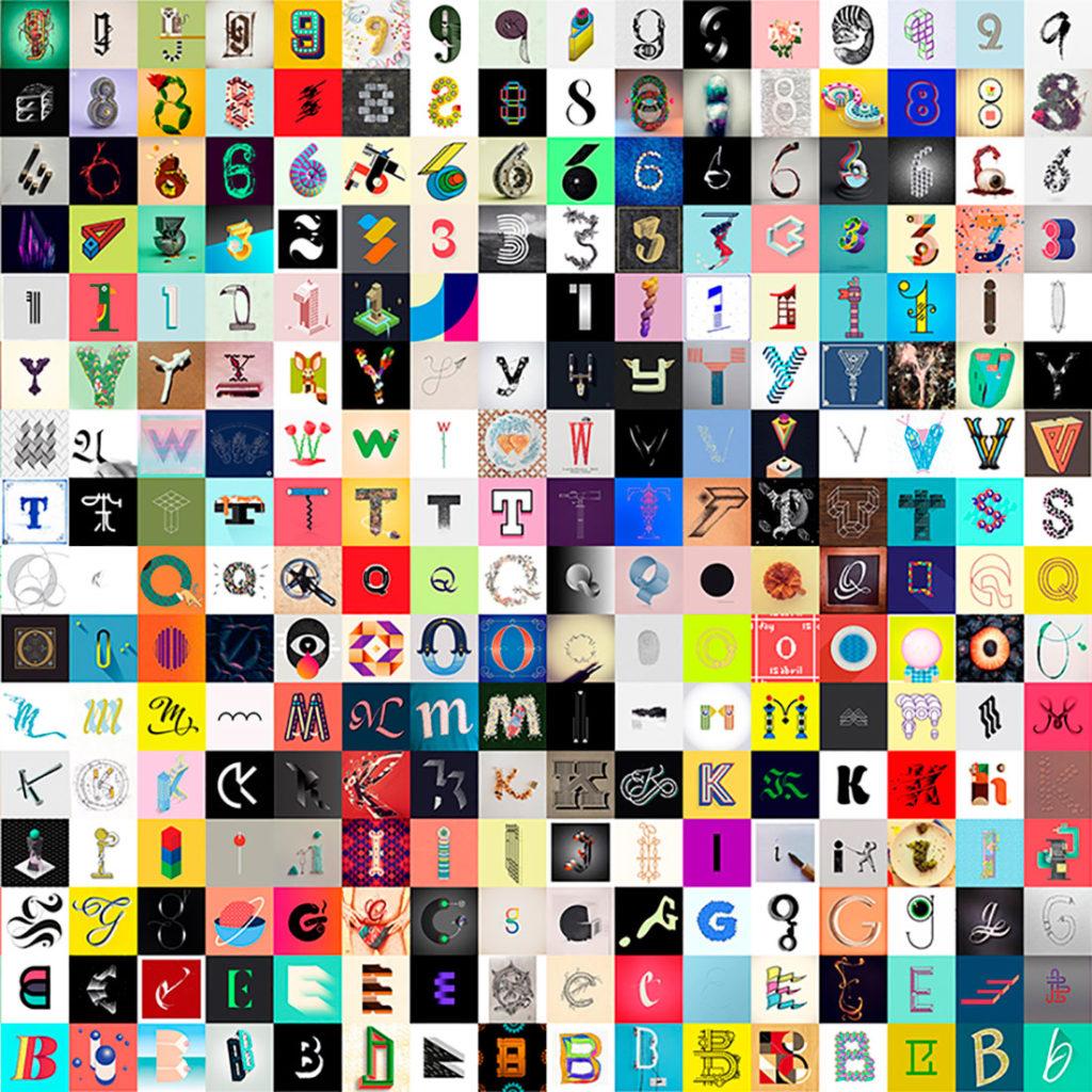 Collage de cubos de colores que contienen letras del abecedario ilustradas. Poppyns Magazine