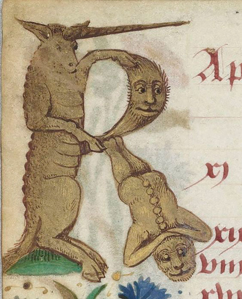 Letra R del abecedario hecha a partir de una mezcla de animales y personas ilustrados. Poppyns Magazine