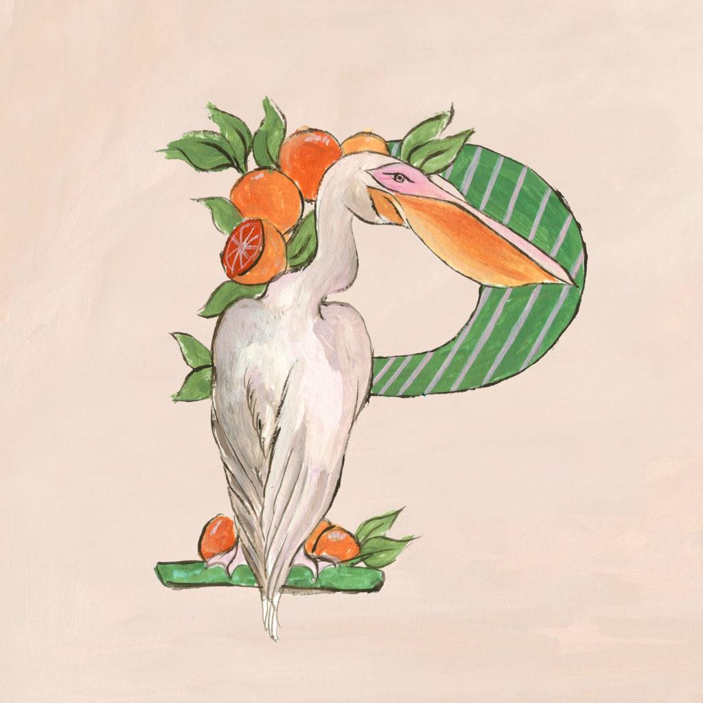 Letra P del alfabeto formada a partir de un pelícano y naranjas. Poppyns Magazine