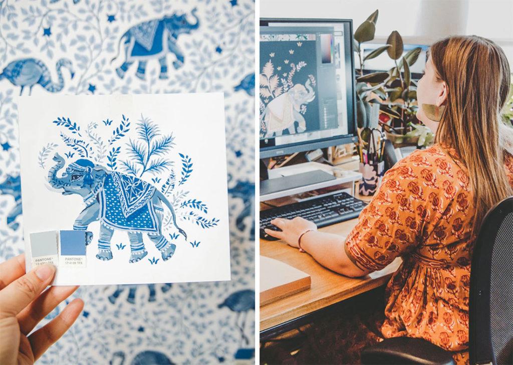 Mujer sentada en un escritorio frente a un ordenador, diseñando una ilustración de un elefante indio con elementos florares con un tono de pantone gris y otro en azul. Poppyns Magazine