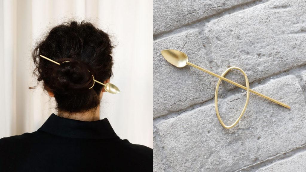 Broche en baño de oro para el cabello para recogido elegante pelo largo mujer.
