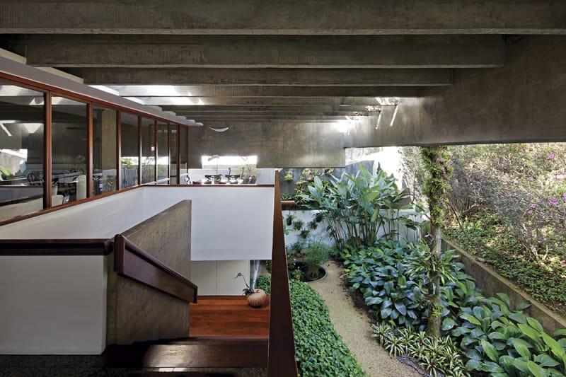 Interior de vivienda de hormigón con jardín interior y una escalera de madera. Poppyns Magazine