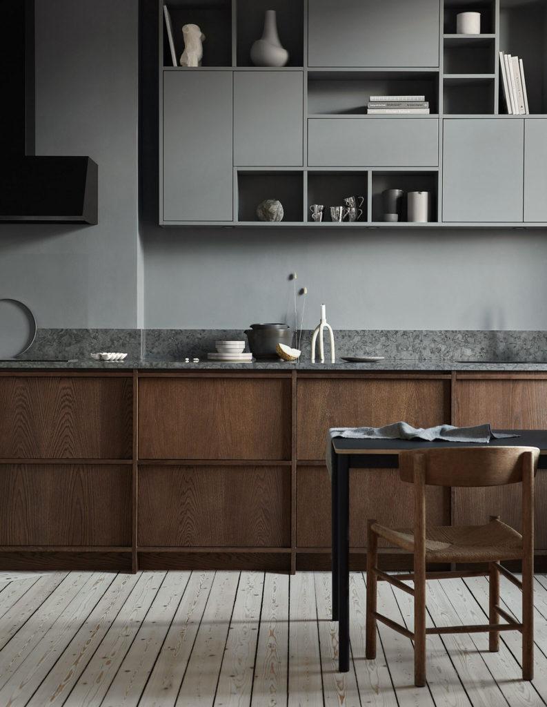 Comedor y cocina masculina en tonos grises y marrones